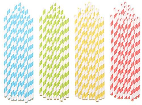 PEARL Papierstrohhalm: 100 Retro Papier-Trinkhalme in 4 Farben, gestreift, lebensmittelecht (Strohhalme)