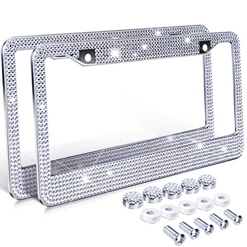 License Plate Frame Holder (H.Yue Diamond License Plate Frame, 2 Pack Bling Rhinestone Car License Plate Frames Holders with 7 Shiny Crystal Rows, Metal Chrome Auto License Plate Cover with Mounting Screws)