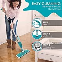 Multifunctional Stainless Steel Microfiber Healthy Integrated Water Spray Mechanism Mop with Removable Washable Cleaning Pad (Multicolour, Standard)