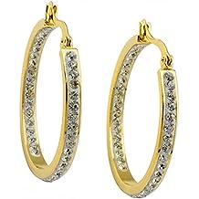 Beydodo Acero Inoxidable Pendientes de Aro de Mujer 1 Par Circonita Dorado Forma Círculo Redondo Oro Pendientes Para Mujer