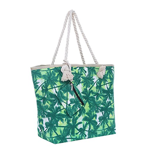 Bolsa de playa grande con cremallera 58 x 38 x 18 cm palmas verde blanco...