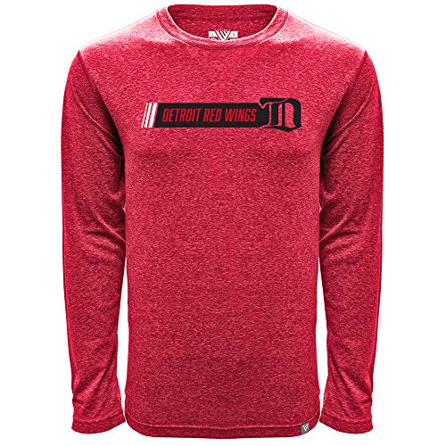 Levelwear NHL Herren T-Shirt Mirage Vintage Hybrid Stripe Long Sleeve Tee, Herren, Mirage Vintage Hybrid Stripe Mens Tee, Heather Flame Red, Medium -