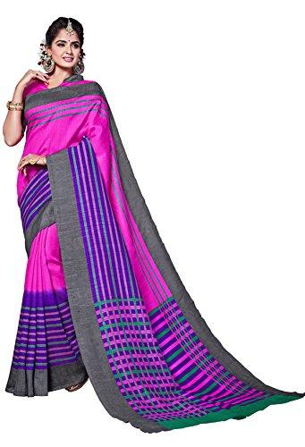 Classic Enterprise Sarees Daily Wear Stripe & Geometric Print Pink Color Cotton Sari With Blouse (Malgudi-4377)