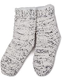 totes Ladies Soft Fluffy Sequin Bedsocks Grey One-Size
