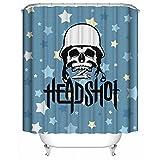 YAOFUTEE Duschvorhang Dekor,Kühler Schädel Soldat auf Blauem Hintergrund der Sterne Wasserdichtes Mehltau Polyester Gewebe Duschvorhang Badezimmer 60