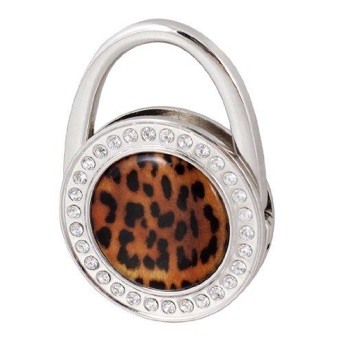 XZANTE Haken - Frauen Schwarz Leopard-Muster Bling Strass faltender Metallhandtaschen Haken Aufhaenger