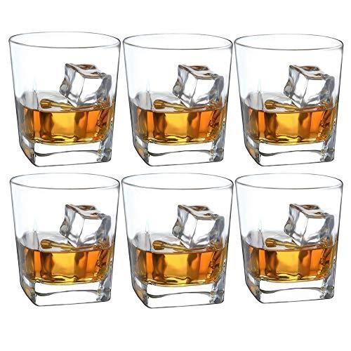 Double Old Fashioned Whisky Glass (6er Set) mit Chilling Stones - 10 Unzen Heavy Base Rocks Barware-Gläser für Scotch-Bourbon und Cocktail Drinks Real Classic - Heavy Base Rocks Glas