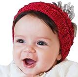 QueenMee Baby Haarband Baby Mädchen Baby Haarband Winter Hand gestrickt Baby Ohrenwärmer mit Baby Ohr Muff Baby-Baby Winter Wärmer Haarband aus Pailletten Garn Gr. Einheitsgröße, rot