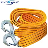 Kingsway Heavy Duty Car Towing Rope with Forged Hooks at Both The Ends (Yellow Color, Made of Nylon, 3 Ton Load Capacity)