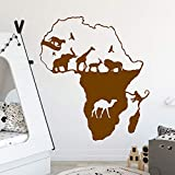 Carte Des Animaux Vinyle Stickers Muraux Papier Peint Pour Bébé Enfants Chambres Salon Décor Art Maison Décoration Gris XL 58cm X 66cm