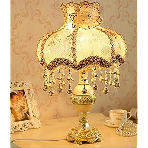 Vintage resina tallada lámpara de mesita de noche dormitorio regulable bordado hecho a mano