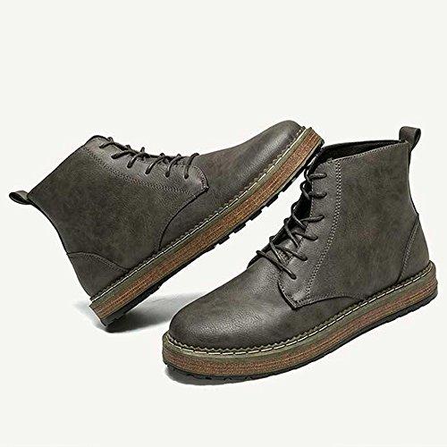Feifei Chaussures Homme Hiver Mode Keep Warm High Help Chaussures En Cuir 3 Couleurs (couleur: Gris, Dimensions: Eu40 / Uk7 / Cn41) Gris