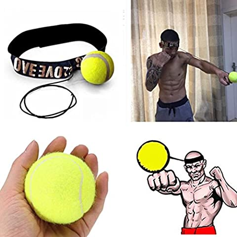 Oyedens 1pcs Kampfball Mit Kopfband FüR Reflexgeschwindigkeit Trainingsboxen (Gelb)