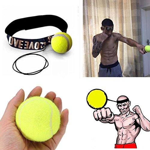 4-punkt-kopfband (Oyedens 1pcs Kampfball Mit Kopfband FüR Reflexgeschwindigkeit Trainingsboxen (Gelb))