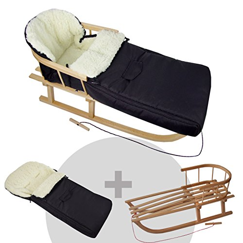 BAMBINIWELT KOMBI-ANGEBOT Holz-Schlitten mit Rückenlehne & Zugseil + universaler Winterfußsack (90cm), auch geeignet für Babyschale, Kinderwagen, Buggy, aus Wolle UNI schwarz