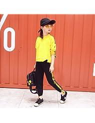 ZYTAN trajes de las niñas, la primavera y el otoño, los niños de desgaste, manga larga, pantalones y chaqueta de dos piezas,Amarillo,160cm.