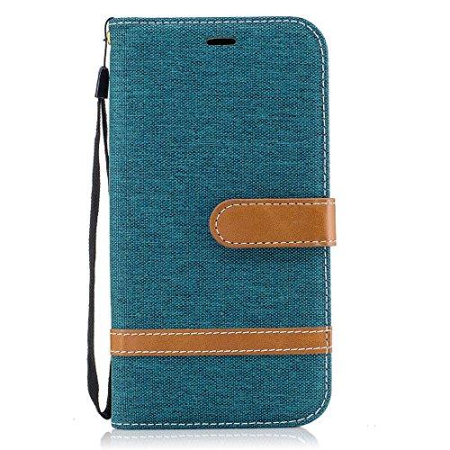 Motorola Moto G4 / G4 Plus Hülle, Chreey [Klassische Denim] Kunst Handyhülle Flip Case Schutzhülle / Etui / Ledertasche [Dunkel grün] + Brieftasche Kartenfach Ständer Funktion