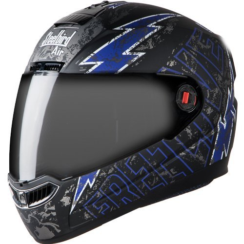 Steelbird SBA-1 Free Live Full Face Helmet (Medium 580 MM, Matt Black with Blue)