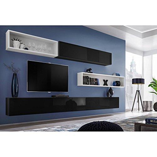 Paris Prix - Meuble TV Mural Design blox X 350cm Noir & Blanc