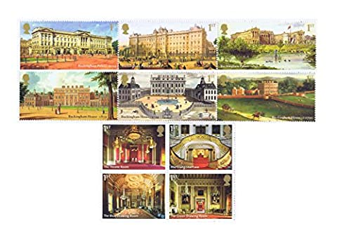Buckingham Palace postage stamps - 10 x 1st Class Royal Mail Mint Stamps. 2014 Buckingham Palace stamps featuring illustrations of the property over its 300 years and photographs of the glorious interiors within the Palace