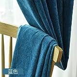 T-CDSH Verdunkelungsvorhangstoff Wohnzimmer Schlafzimmer bodentief Fenster Stoff, Breite 250 * Höhe 270 (Haken je Stück), einfarbig Chenille-Blau