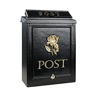 POSTBOX COLLECTION BY PRICE CRUNCHERS - Lockable Heavy Duty Secure Wall Mounted Letter Mail Post Box Stainless Steel (4. Gold Rose)