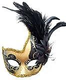 Coolwife Costume Masque Plume Mascarade Masque Halloween Mardi Gras Cosplay Parti Masque (Noir)