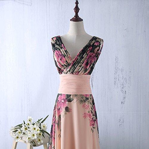emmarcon Abito da Cerimonia Donna in Chiffon Damigella Vestito Lungo  Elegante Floreale da Festa Party 0e469d78c8b