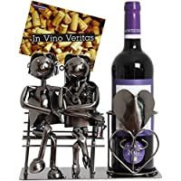 BRUBAKER Porte-bouteille de Vin décoratif - Sculpture en Métal - Idée cadeau - Couple sur le Banc