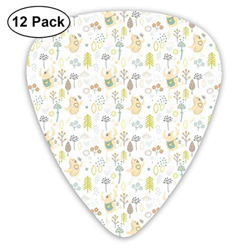 Celluloid Guitar Picks - 12 Pack,Abstract Art Colorful Designs,Funny And Cheerful Natural Art Composition With Merry Happy In Love Birdies,For Bass Electric & Acoustic Guitars. -