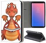Samsung Galaxy S3 / S3 Neo Hülle Premium Smart Einseitig Flipcover Hülle Samsung S3 Neo Flip Case Handyhülle Samsung S3 Motiv (1388 Drache Braun Dragon mit Buch Cartoon)