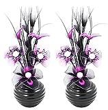 Flourish 796167 Fleurs artificielles en soie avec vase ovale pourpre noir violet 75cm, Verre, violet/noir, 10x10x32 cm