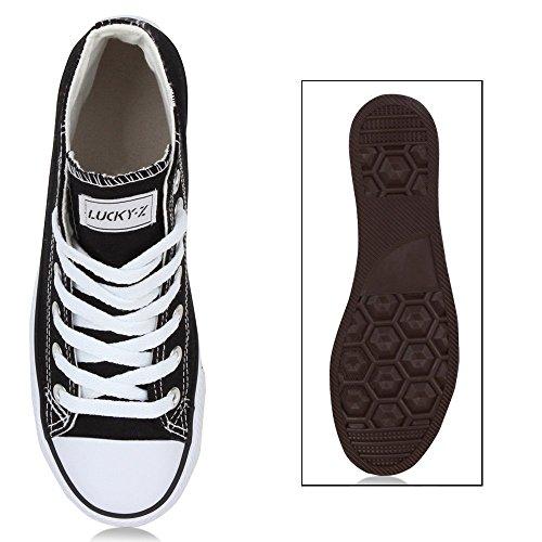 Damen Herren Unisex Sneaker High Schnürer Denim Sneakers Camouflage Sportschuhe Turnschuhe Glitzer Stoff Schuhe Übergrößen Flandell Schwarz Ambler