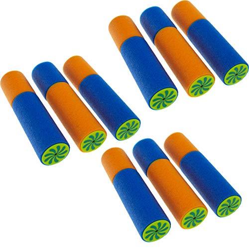 Smartfox 3X 3 Stück Mini Schaumstoff Wasserpistole Wasserspritze Wasserspritzpistole Spritzpistole Pool Schwimmbad See Meer in blau/orange