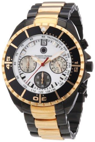 Constantin Durmont Seawolf CD-SEAW-QZ-RGIP-RGIP-WH - Reloj cronógrafo de cuarzo para hombre, correa de acero inoxidable chapado multicolor (cronómetro)