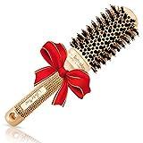 Mejor Cepillo de pelo Redondo con Cerdas naturales de jabalí para secado del cabello, cepillado, alisado-consiga de salón brillo y volumen (4,3 cm)-para pelo de longitud media, pelo ondulado o lacio