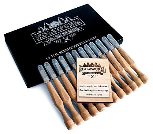 HOLZWURM Holz-Schnitzwerkzeug Set - 12 Stück SK7 Schnitzmesser für Holz, Gemüse & Obst