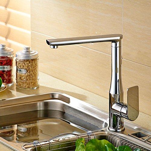 Preisvergleich Produktbild SADASD Moderne All Copper Basin Europäischen Kreativen Einloch einzigen Warmen und Kalten Badezimmer Waschtisch Tapss Desktop Küche Wasserhahn Kaltwasser dicker, weißer Sockel Silber
