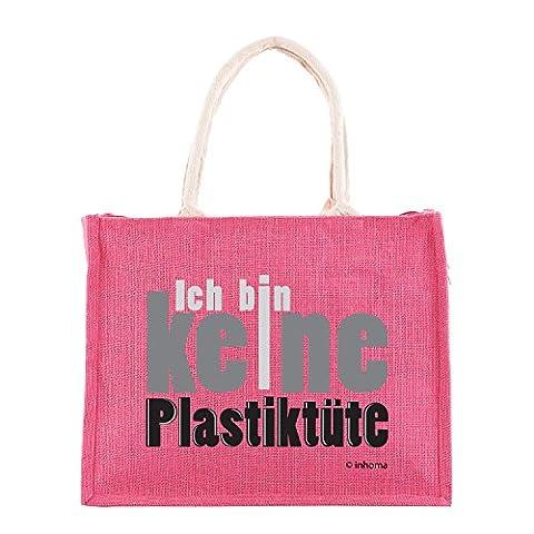 Inhoma Strand-Tasche & Shopper aus Jute in Pink | Spruch: