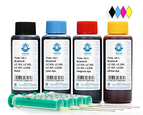 400 Recharger millilitre d'encre, Encre Brother LC-223, LC-225, LC-227, LC-229 cartouches d'imprimante, Brother DCP-J 4120 DW, MFC-J 4420 DW, J 4425 DW, J 4620 DW, J 4625 DW, J 5320 DW, J 5600, J 5620 DW, J 5625 DW, J 5720 DW (non OEM)