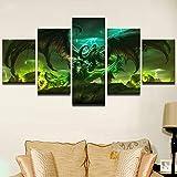 JSBVM 5 Stück Wandmalerei Drucke auf Leinwand Spiel World of Warcraft Charakter Bilder Für Zuhause Modern Dekoration(A: Rahmen B: Kein Rahmen)