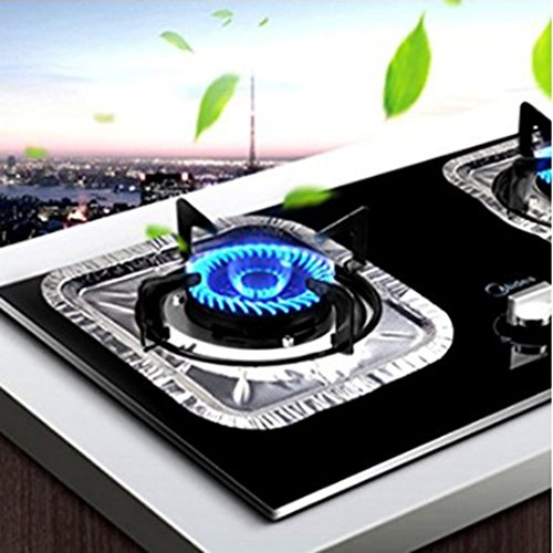 HENGSONG 10PCS Reusable Gas Hob Protector Liner Sheets Non Stick Lining Clean Mat (Square)
