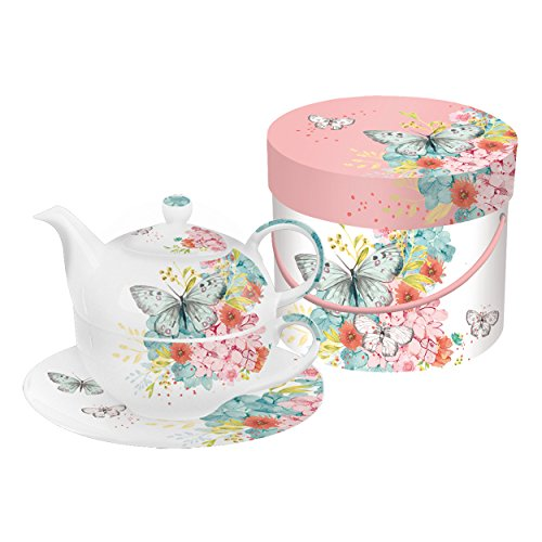 PPD Louise Butterfly Tea-for-One-Set, Tee Kanne, Tasse in Einem, feines Bone China Porzellan, Weiß / Bunt, 400 ml / 260 ml, 602808 (Feine China-tee-tassen-set)