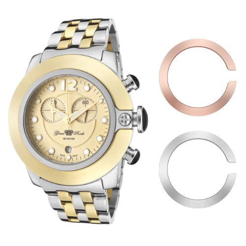 Glam Rock Women's GR32159 SoBe Chronograph Pale Yellow Dial Two Tone Stainless Steel Watch