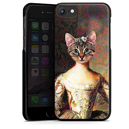 Apple iPhone 8 Plus Tasche Hülle Flip Case Katze Cat Kitty Hard Case schwarz