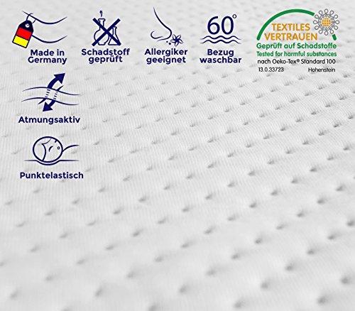 Hochwertiger Visco Topper Matratze und Boxspringbett in verschiedenen Größen erhältlich,made in Germany, Bezug waschbar bis 60 Grad, ÖKO-TEX® , für Rollmatratze und Zonen Kaltschaummatratze (180 x 200 cm)