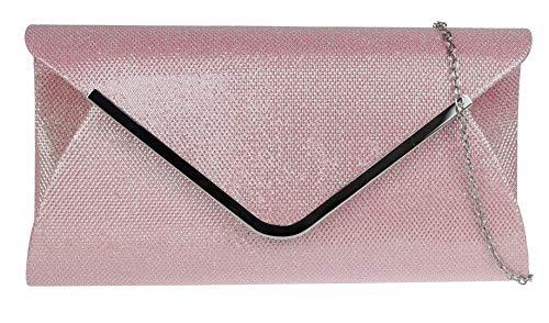 Girly Handbags gewebte Glitzerer Handtasche Clutch (Hell Pink) -