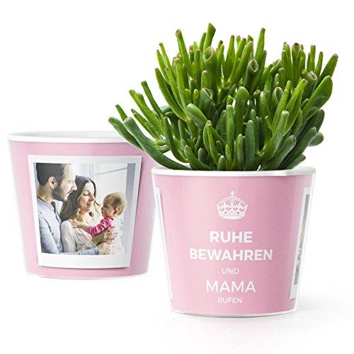 Lustige Muttertagsgeschenk Ideen für Mama - Blumentopf (ø16cm) | Mutter Geschenk zum Geburtstag, Muttertag oder Weihnachten mit Bilderrahmen für zwei Fotos (10x15cm) | Ruhe bewahren und Mama rufen