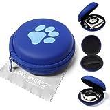 """Stylebitz / Etui """"coquillage"""" à deux tons pour Apple iPod Shuffle 2è / 3è / 4ème génération / fermeture éclair, poche intérieure, extérieur ultra-résistant, motif branché, pattes d'animal, avec chiffon de nettoyage (bleu)"""