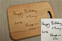 Idea Regalo - Incisione tagliere–personalizzabile con il proprio disegno o messaggio scritto a mano.